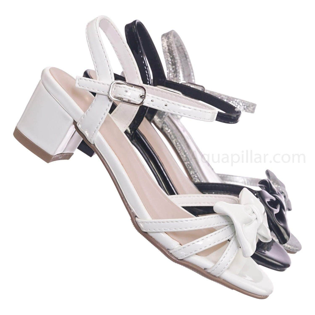 White Patent / Gale2 White Patent Girls Classic Bow Heel Sandal - Children's Kids Heel Open Toe Dress Shoe