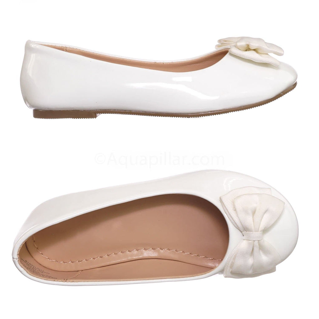White Patent / JessieIIS White Patent Children Girl Flat Ballet Flats - Kids Bow Satin Round Toe Slipper