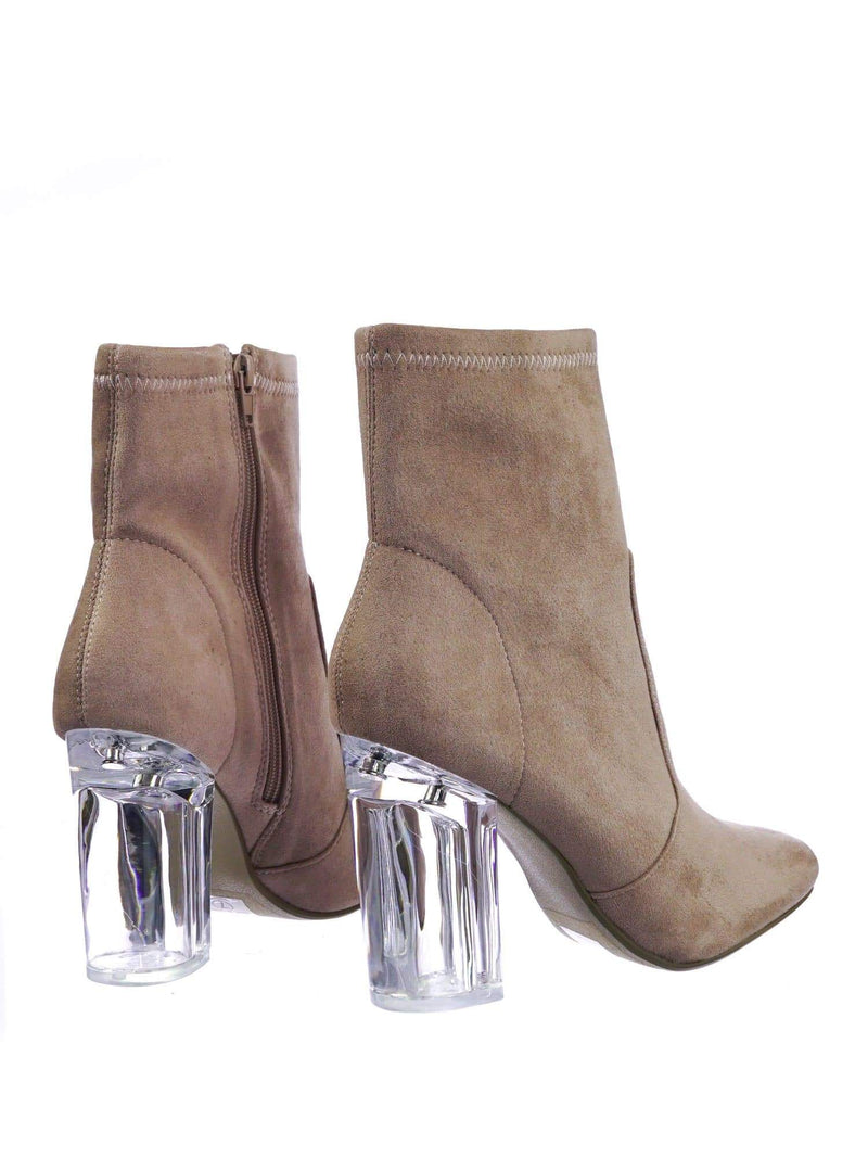 Linya DMauveSu Lucite Clear Chunky Block High Heel Dress Boots, Transparent