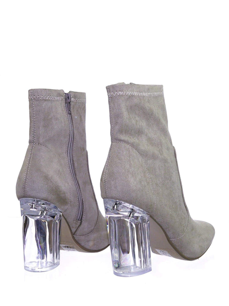 Linya ClayIsu Lucite Clear Chunky Block High Heel Dress Boots, Transparent