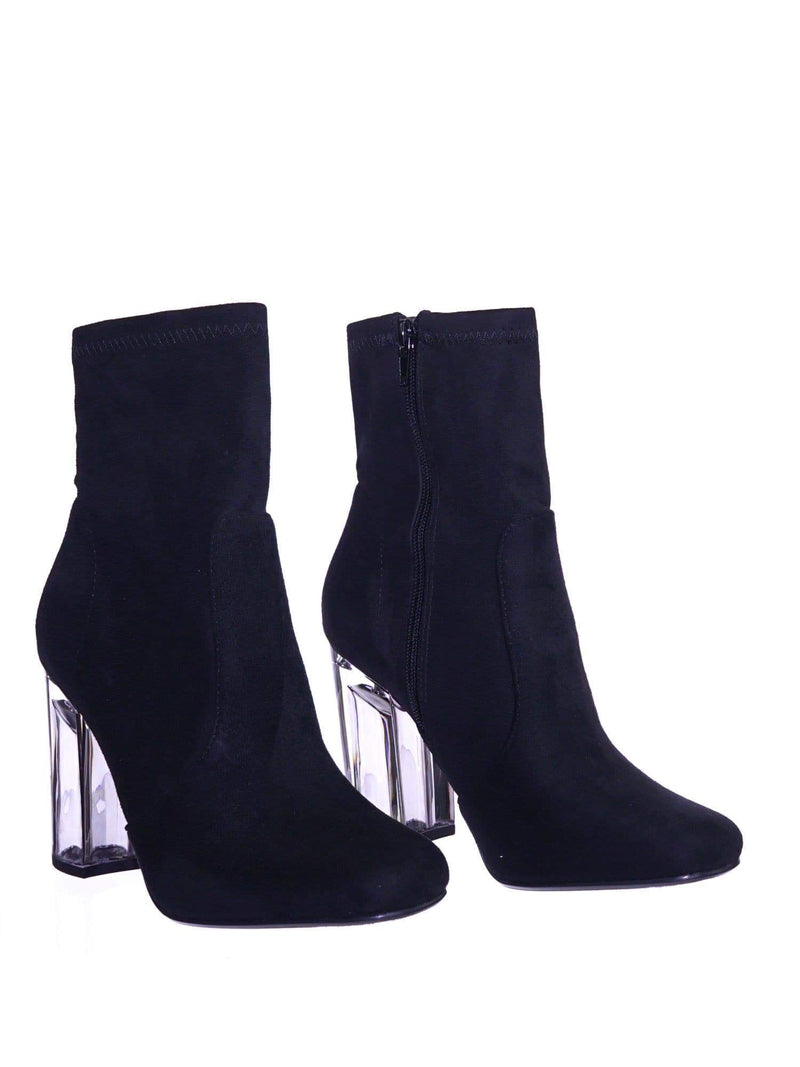 Linya BlackIsu Lucite Clear Chunky Block High Heel Dress Boots, Transparent