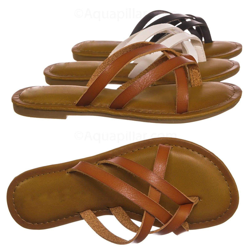 Lupine2 Tan Brown Kids Girl Flat Cage Sandal - Children Vintage Open Toe Strappy Slipper