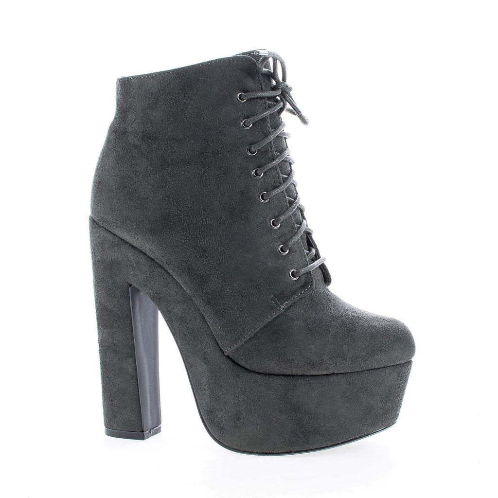 MarinoSL98 Black By Speed Limit 98, Round Toe Lace Up Platform Chunky High Heel Ankle Booties