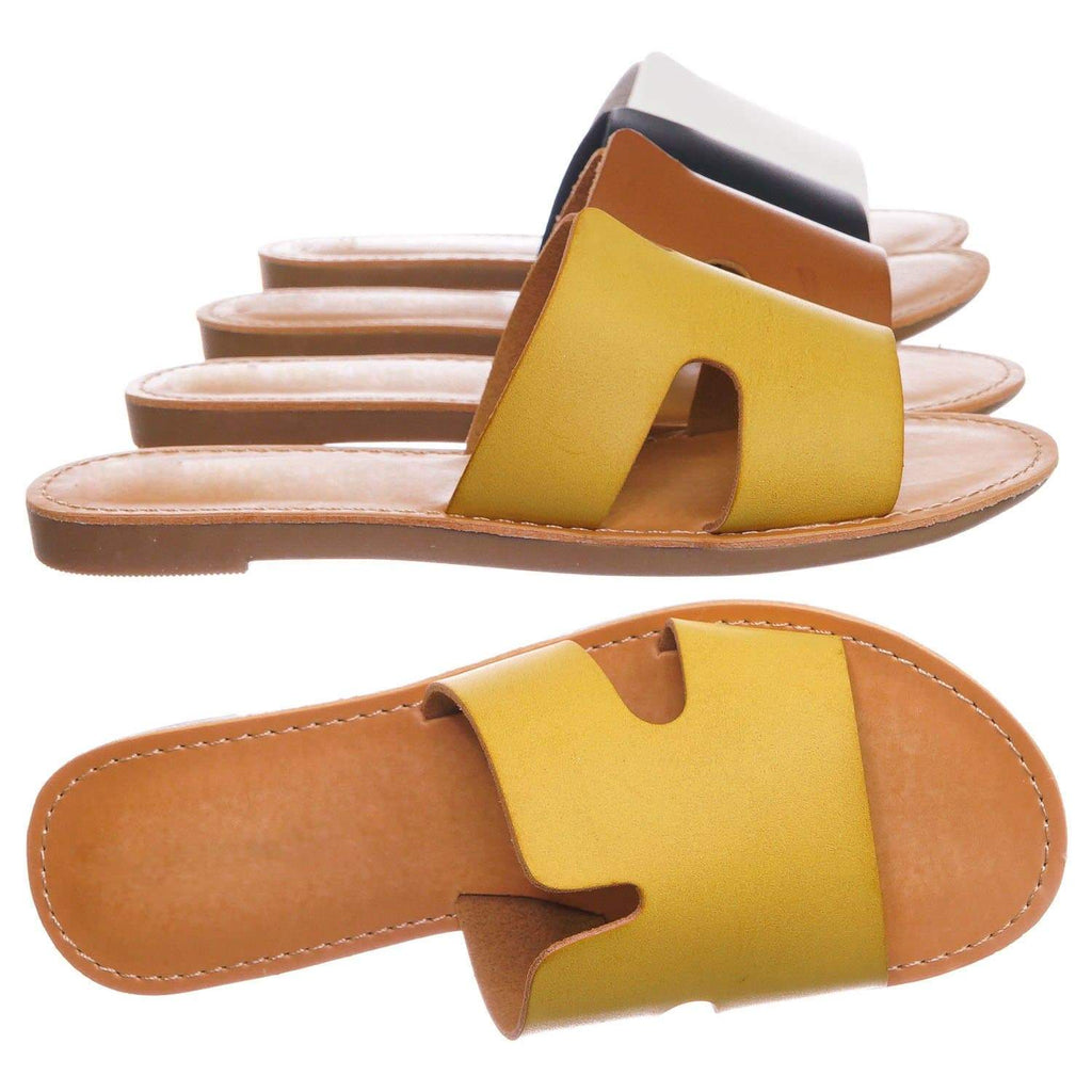 Salvia2 Mustard Yellow Girls Slip On Flat Slipper Sandal - Kids Children Horsehoe Open Toe Shoe