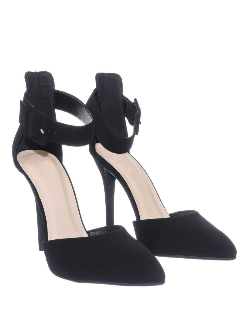 Sweep BlackNbPu Ankle Strap Pointed Toe Dress Pump w Double Open Shank D'Orsay Cutout