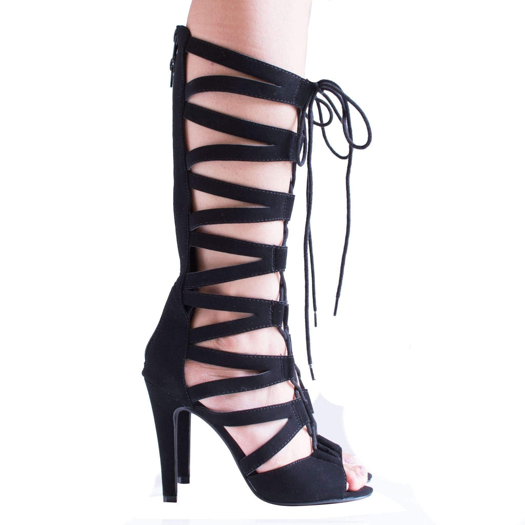 Toner Black By Speed Limit 98, Knee High Gladiator Cut Out Corset Lace Up Stiletto Heel Pump