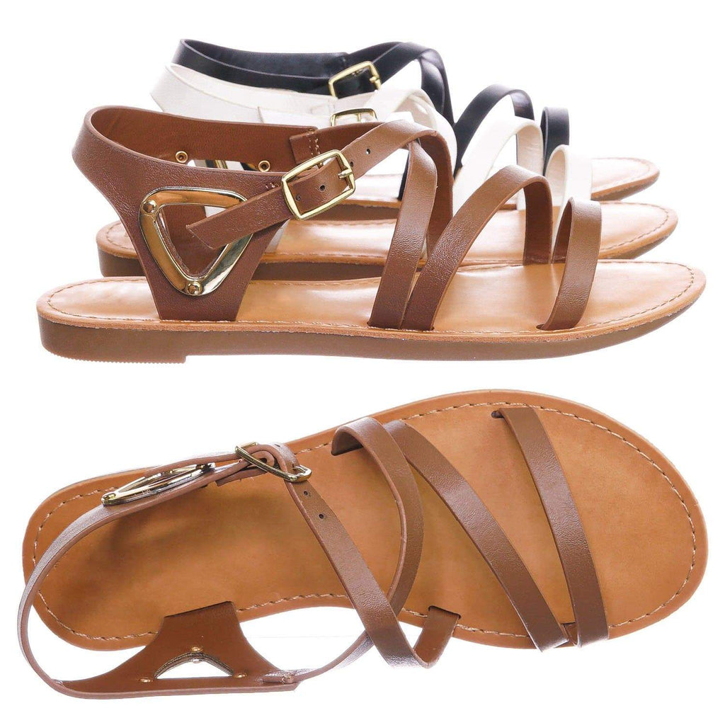 Tan Brown / Velum2 Tan Brown Girls Gladiator Strappy Flat Sandal - Kids Children Open Toe Summer Shoe