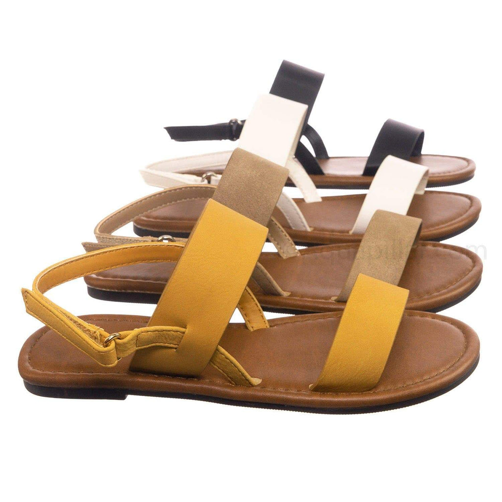 Mustard Yellow / Winnie2 Mustard Yellow Children's Slingback Flat Sandal - Kids Girls Hook & Loop Open Toe Shoe