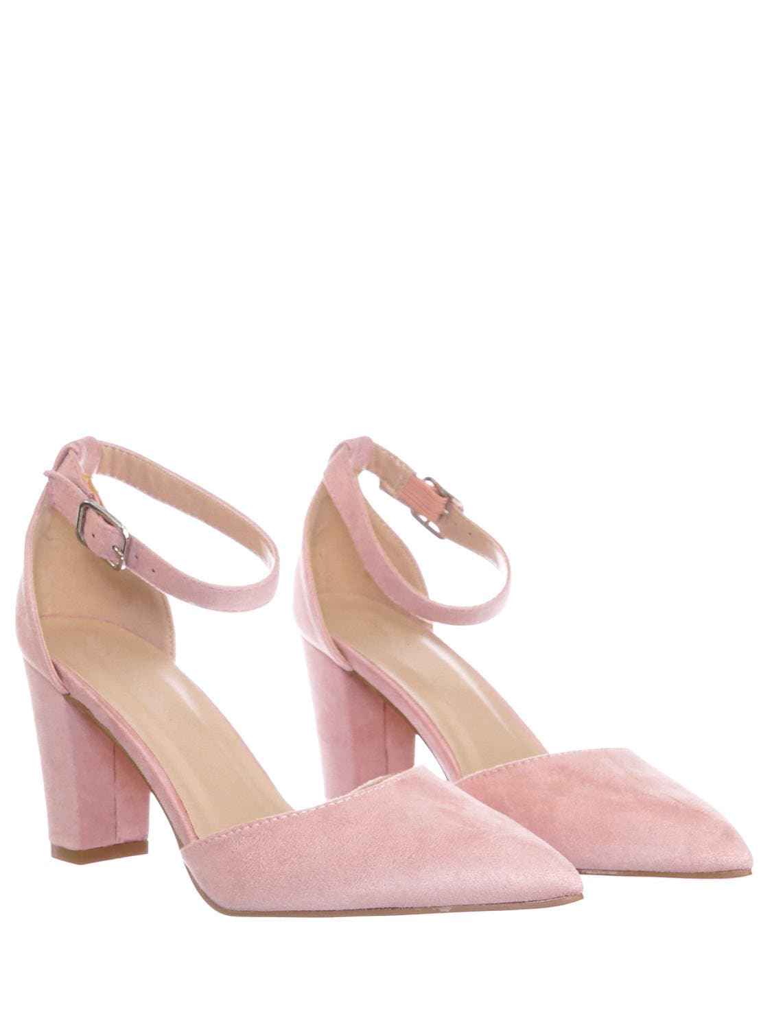 Songful6 DustyPink Retro Pointed Toe d'Orsay Chunky Block Heel Pump - Women Open Shank