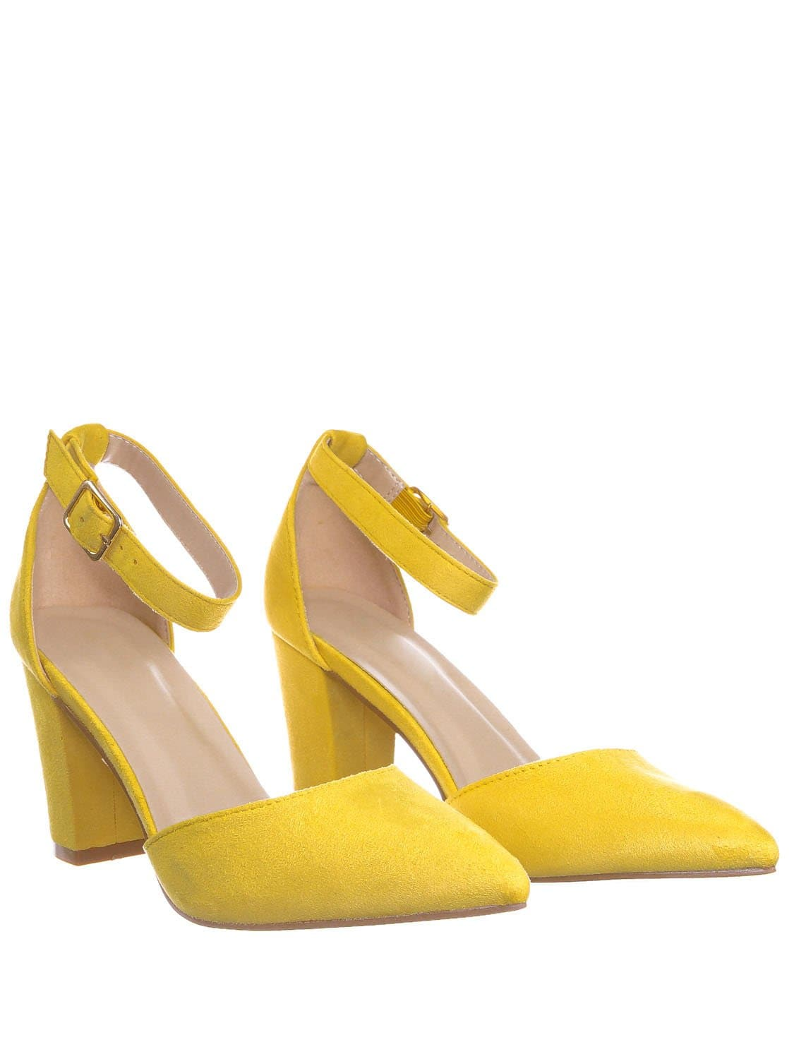 Songful6 Mustard Retro Pointed Toe d'Orsay Chunky Block Heel Pump - Women Open Shank