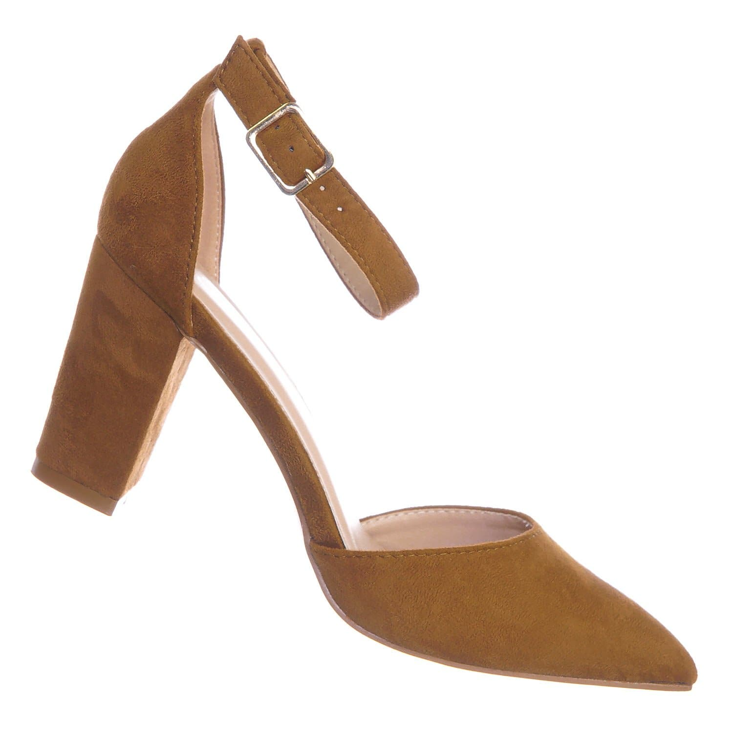 Songful6 Tan Retro Pointed Toe d'Orsay Chunky Block Heel Pump - Women Open Shank