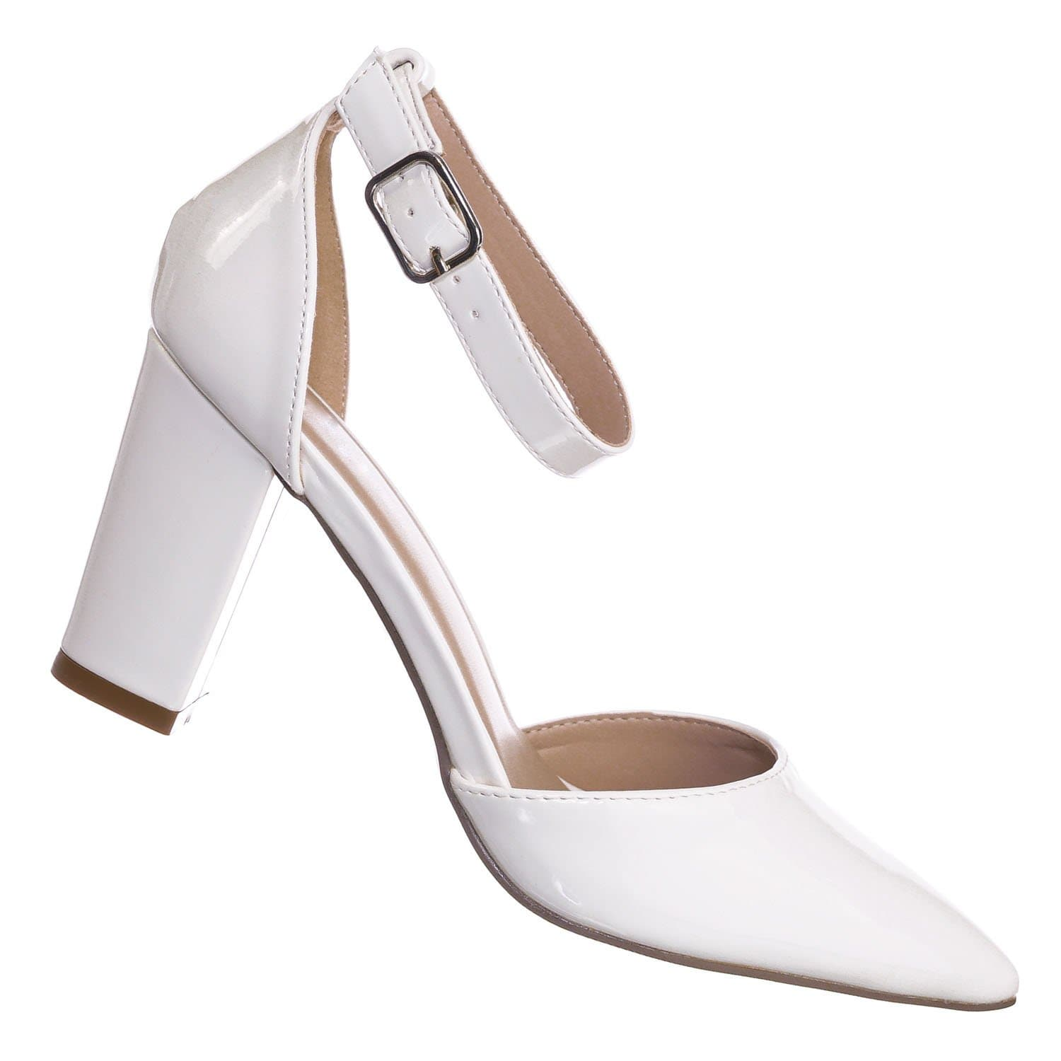 Songful6 WhitePat Retro Pointed Toe d'Orsay Chunky Block Heel Pump - Women Open Shank