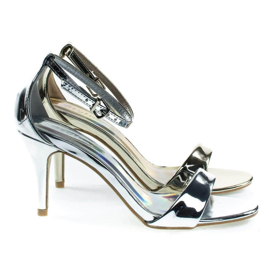 Marc Silver By Styluxe, Low Heel Open Toe Sandal, Closed Back Adjustable Ankle Strap