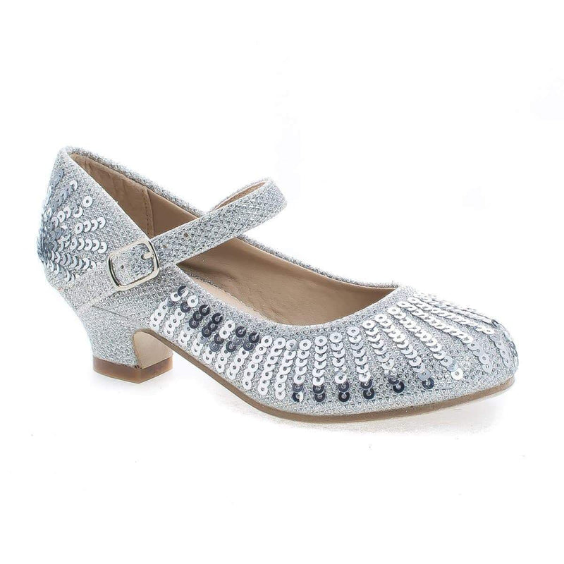 Quincy09 By Sully's, Children Girls Sparkling Mesh And Sequin Heeled Sandals