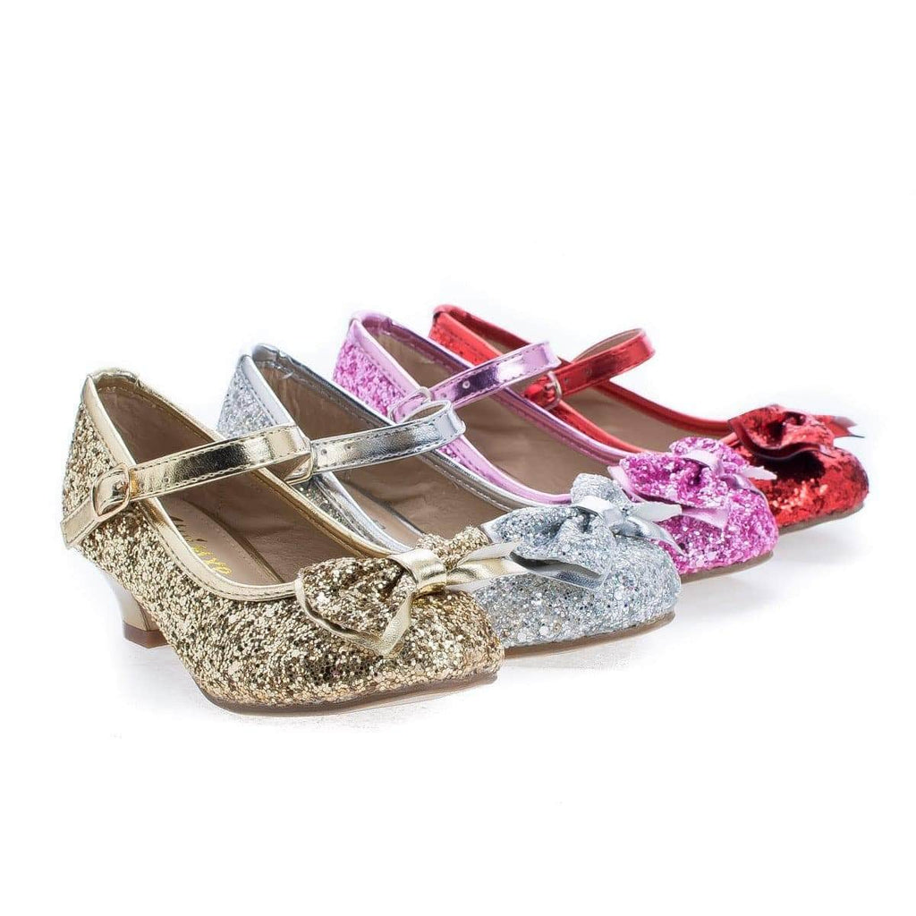 Quincy18 By Sully's, Children Girls Chunky Glitter Rock Bow Mary Jane Heels