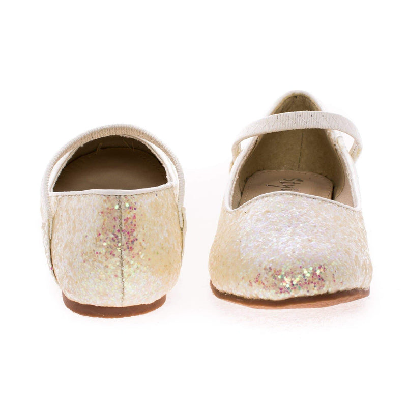 RidleyRG By Sully's, Children Girls Round Toe Ballet Flat Elastic Mary-Jane & Rock Glitter