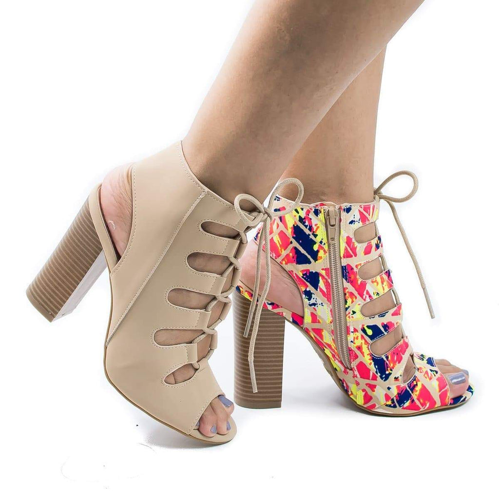 Stash01V Pink Multi Fabric By Sully's, Peep Toe Cut Out Corset Lace Up Heeled Sandals