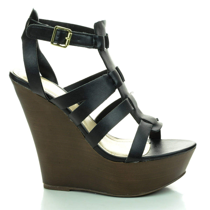 Stef01 Black Pu By Sully's, Open Toe Gladiator Faux Wooden Platform High Wedge Sandals