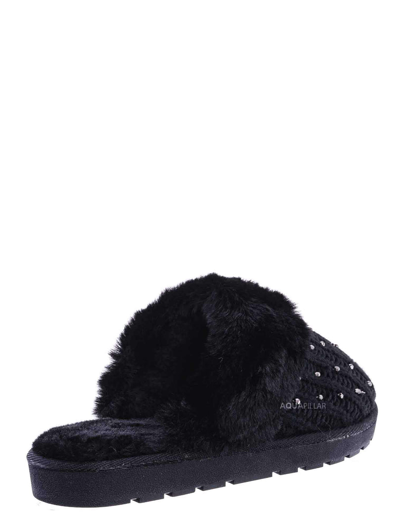 Black Sweater / Snuggle06 Furry Flatbed Sweater Moccasin Slipper -Women Knitted Fur Winter Slide