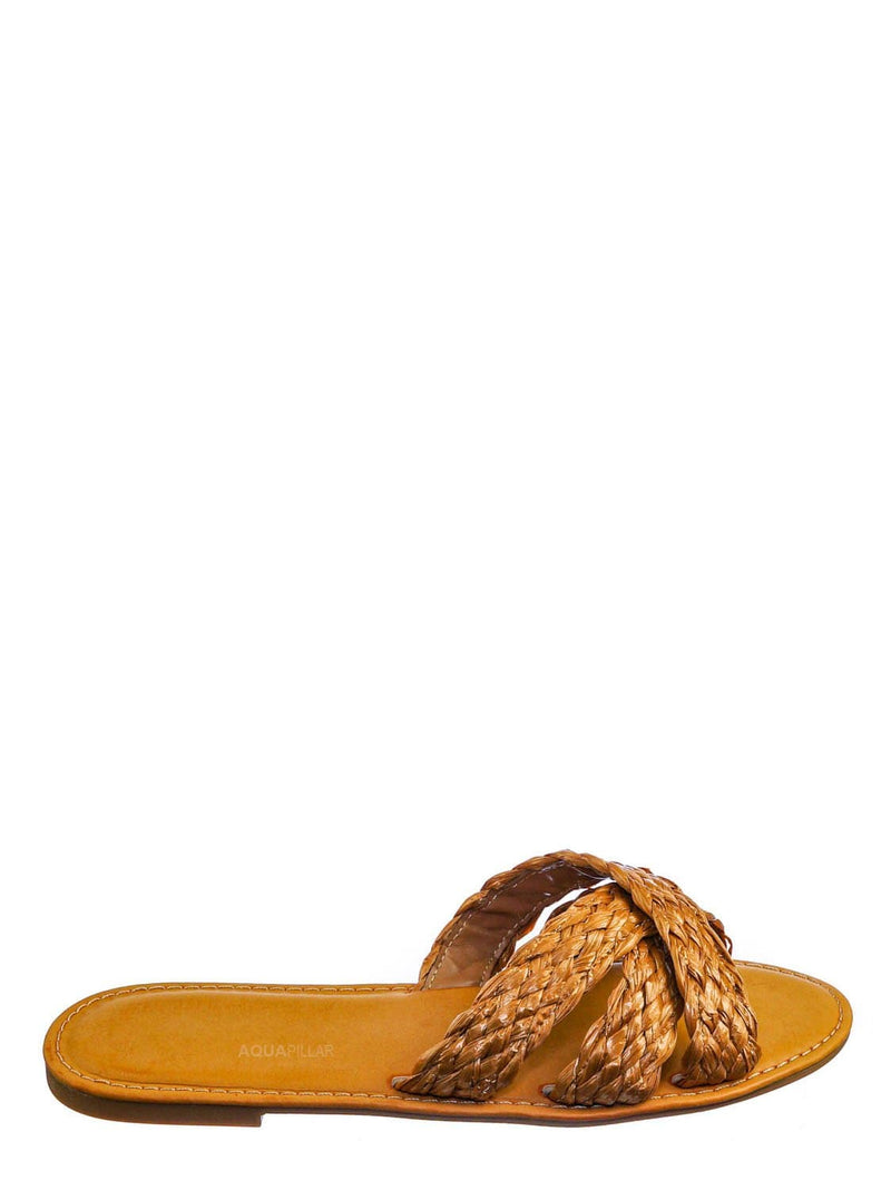Tan Brown / Waterfront10 Braided Raffia Criss Cross Slides - Womens Open Toe Strappy Sandals