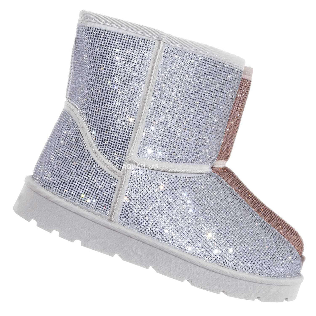 Silver / Frozen22 Rhinestone Faux Fur Snow Boots - Crystal Soft Fluffy Eskimo Slippers