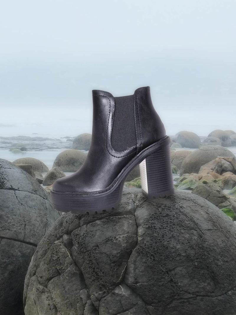 Think Chunky Lug Sole Chelsea Boots - High Heel Elastic Gusset Pull On Shoe