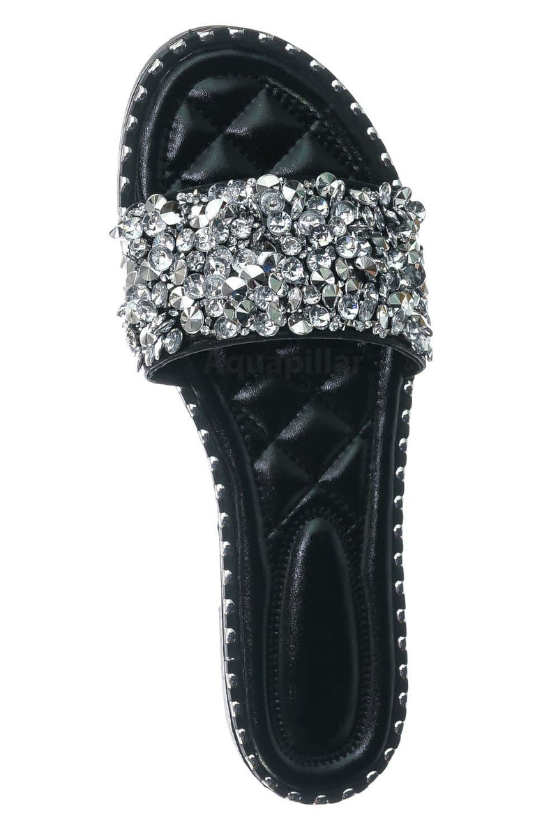 Black Pu / Tia01 Black Pu Rhinestone Slides w Metal Welt - Women Slip On w Assorted Crystal