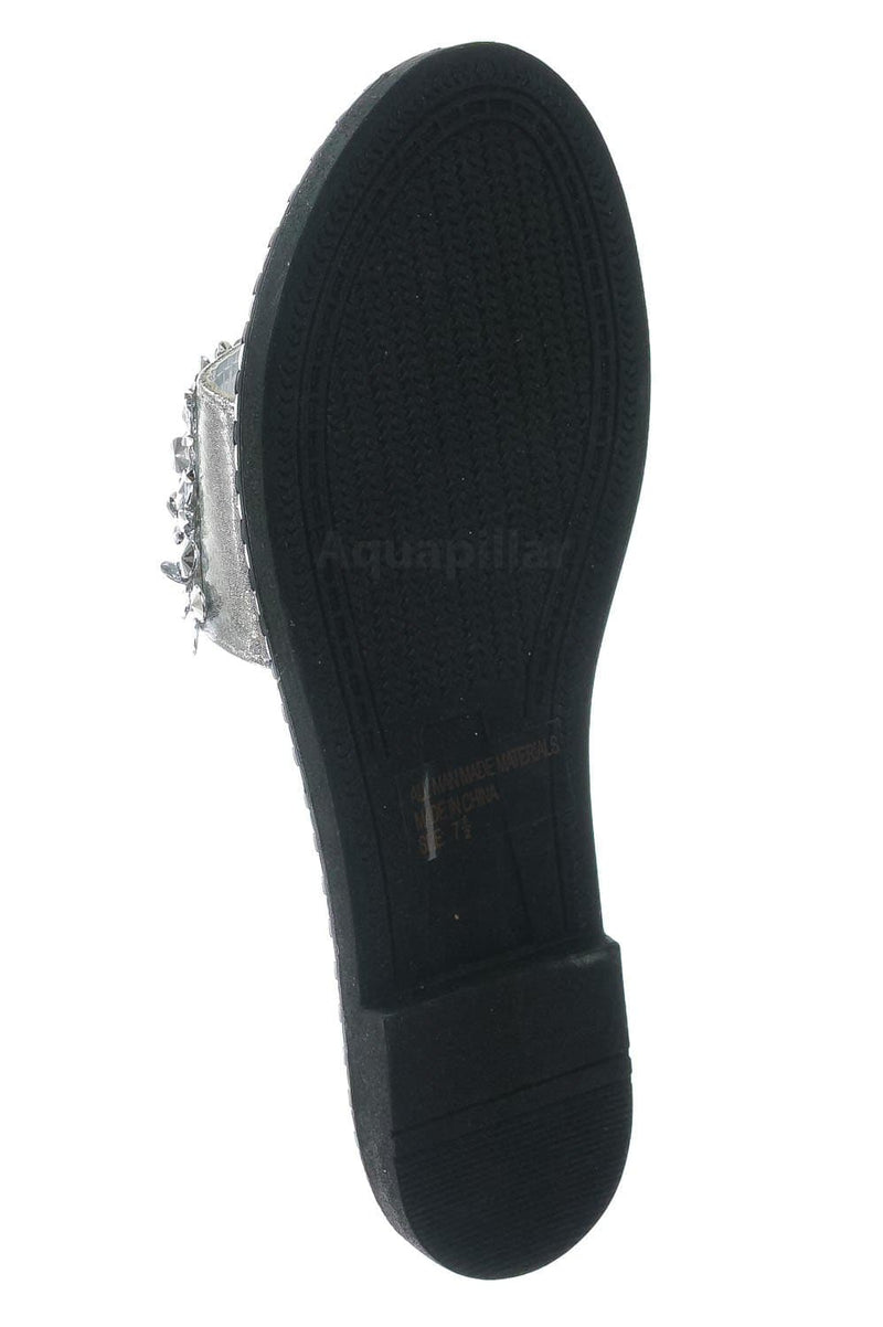 Silver Pu / Tia01 Silver Pu Rhinestone Slides w Metal Welt - Women Slip On w Assorted Crystal