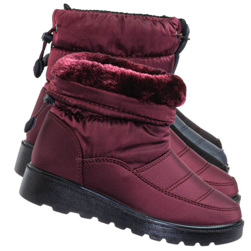 Wine Red / Coleen1A Toddler Quilted Nylon Snow boots - Babys Insulated Utilitarian Boot