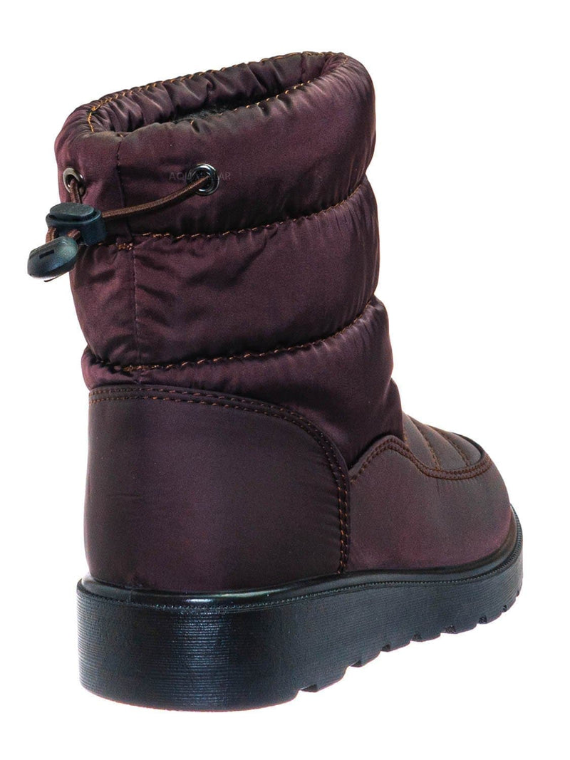 Brown / Coleen1K Children's Quilted Nylon Snow boots - Kids Insulated Utilitarian Boots