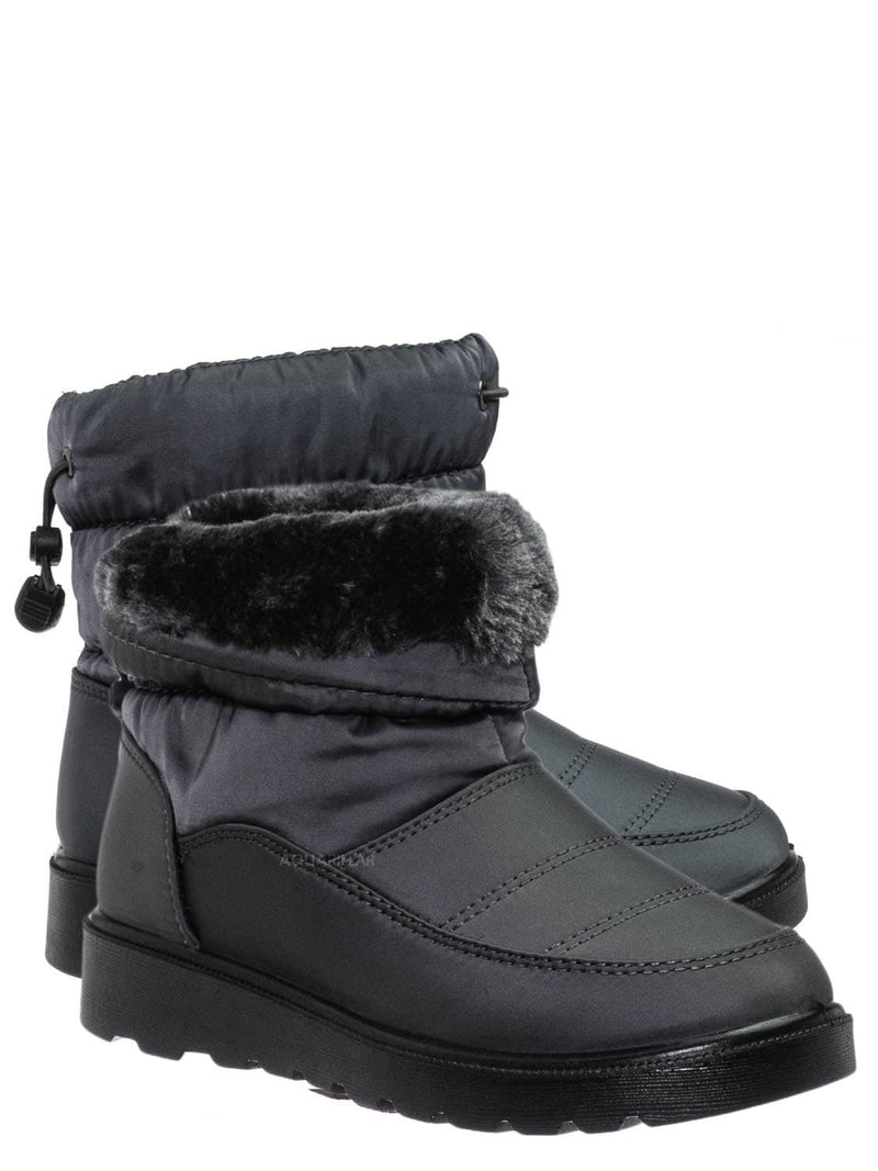 Gray / Coleen1K Children's Quilted Nylon Snow boots - Kids Insulated Utilitarian Boots