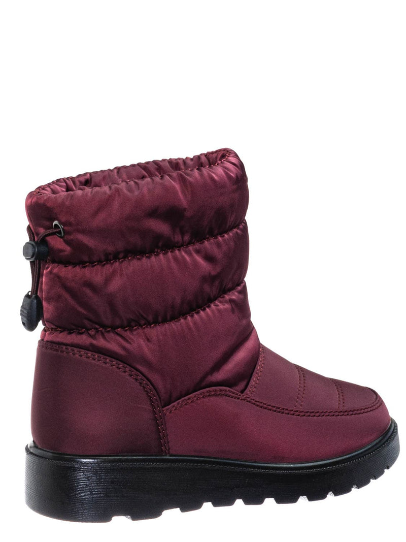 Wine Red / Coleen1K Children's Quilted Nylon Snow boots - Kids Insulated Utilitarian Boots