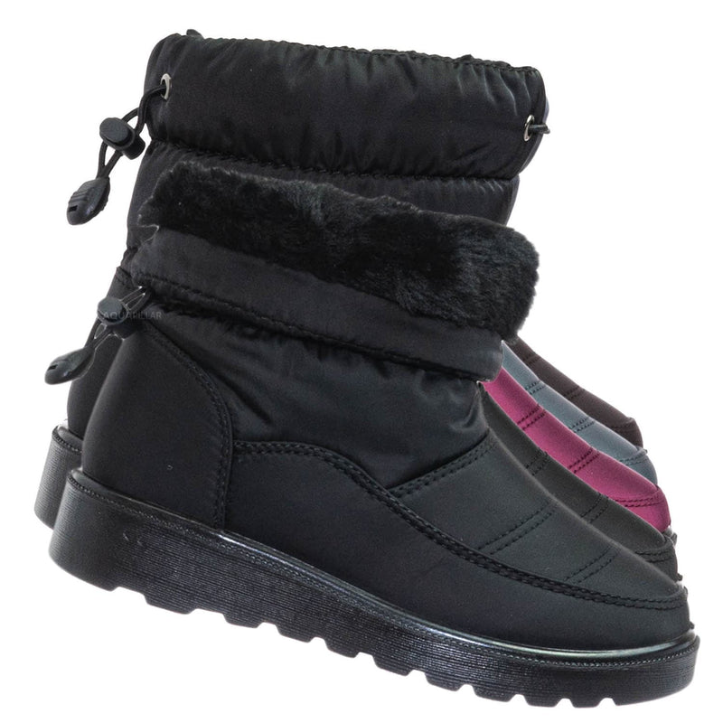 Coleen1K Children's Quilted Nylon Snow boots - Kids Insulated Utilitarian Boots