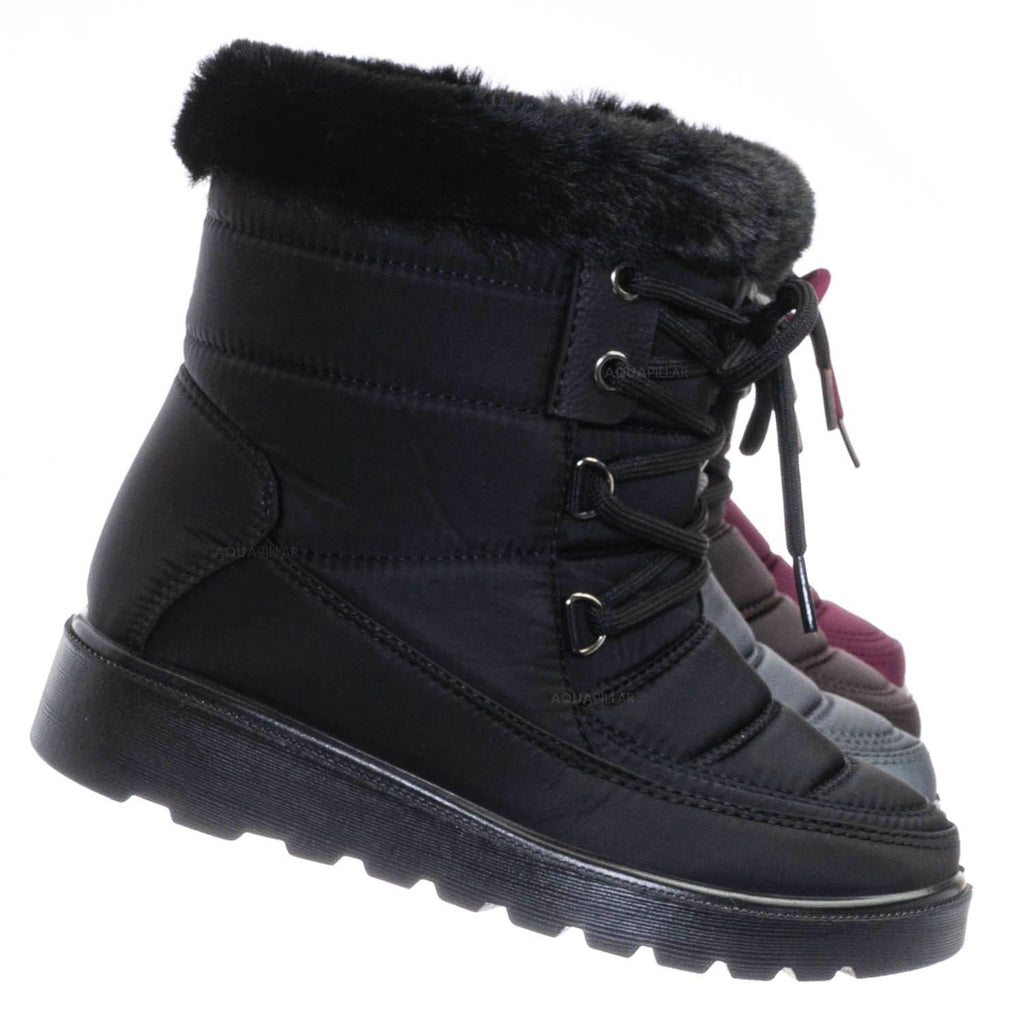 Black / Coleen8K Kids Faux Fur Waterproof Boots - Children Size Nylon Ankle Bootie
