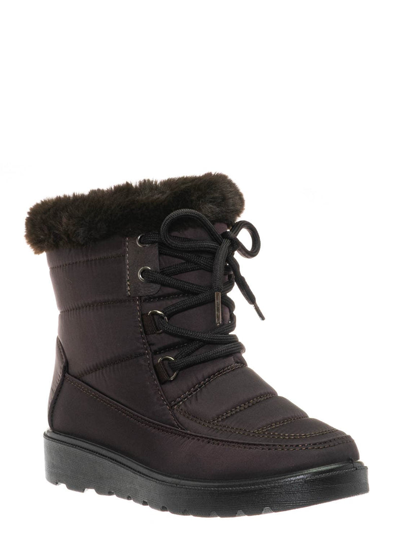 Brown / Coleen8K Kids Faux Fur Waterproof Boots - Children Size Nylon Ankle Bootie