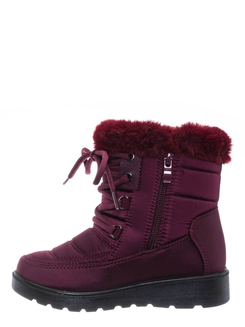 Wine Red / Coleen8K Kids Faux Fur Waterproof Boots - Children Size Nylon Ankle Bootie