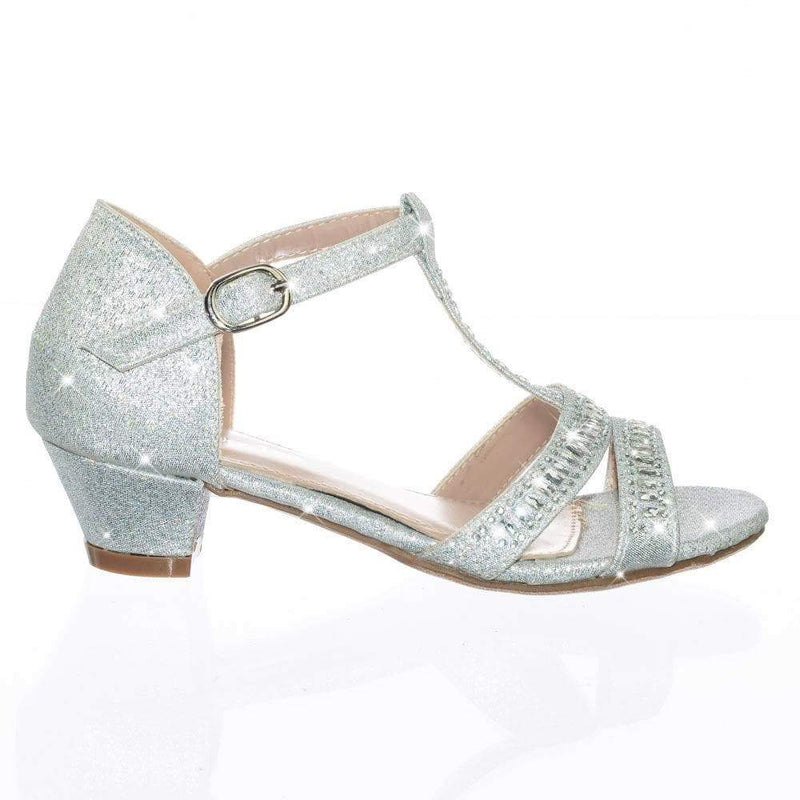 Ekans3K silver Children Girl Kid Low Heel Rhinestone Crystal Glitter Party Dress Sandal