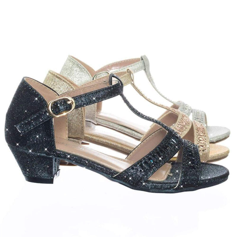 Ekans3K Black Children Girl Kid Low Heel Rhinestone Crystal Glitter Party Dress Sandal