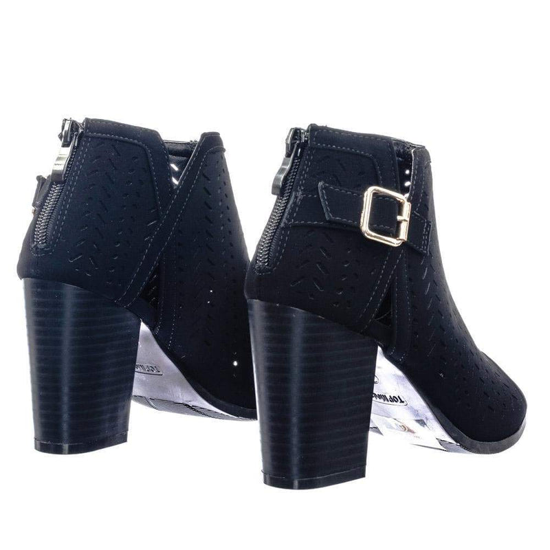 Glenda38 Black Perforated Holes & Side Split Cut Out Peep Toe Ankle Bootie Block Heel
