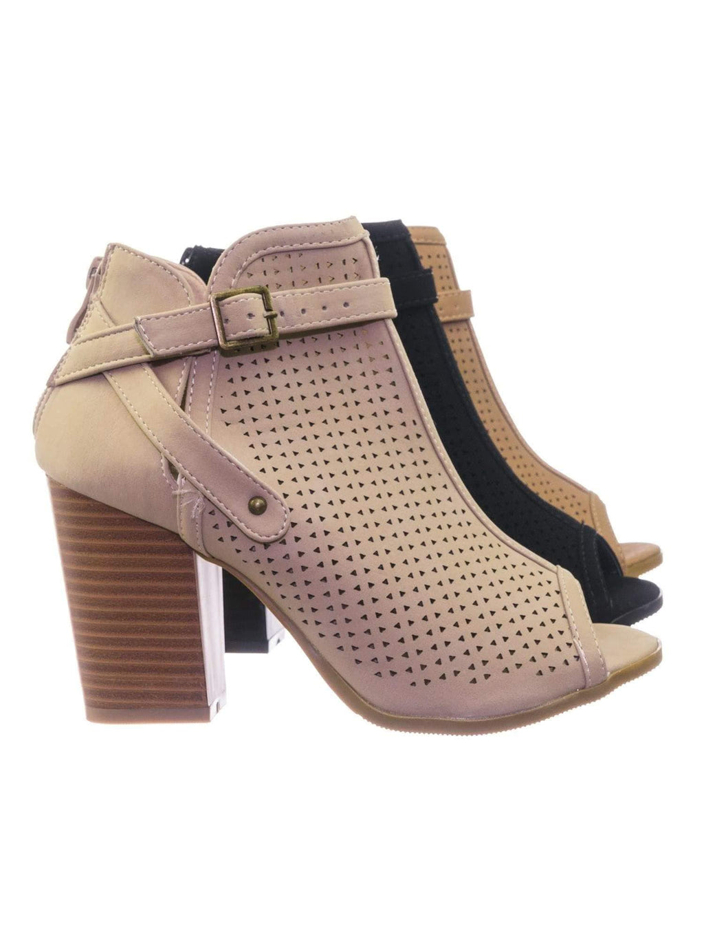 Glenda99 Beige Biker's Stack Block Heel Peep Toe Perforated Cutout Ankle Booties