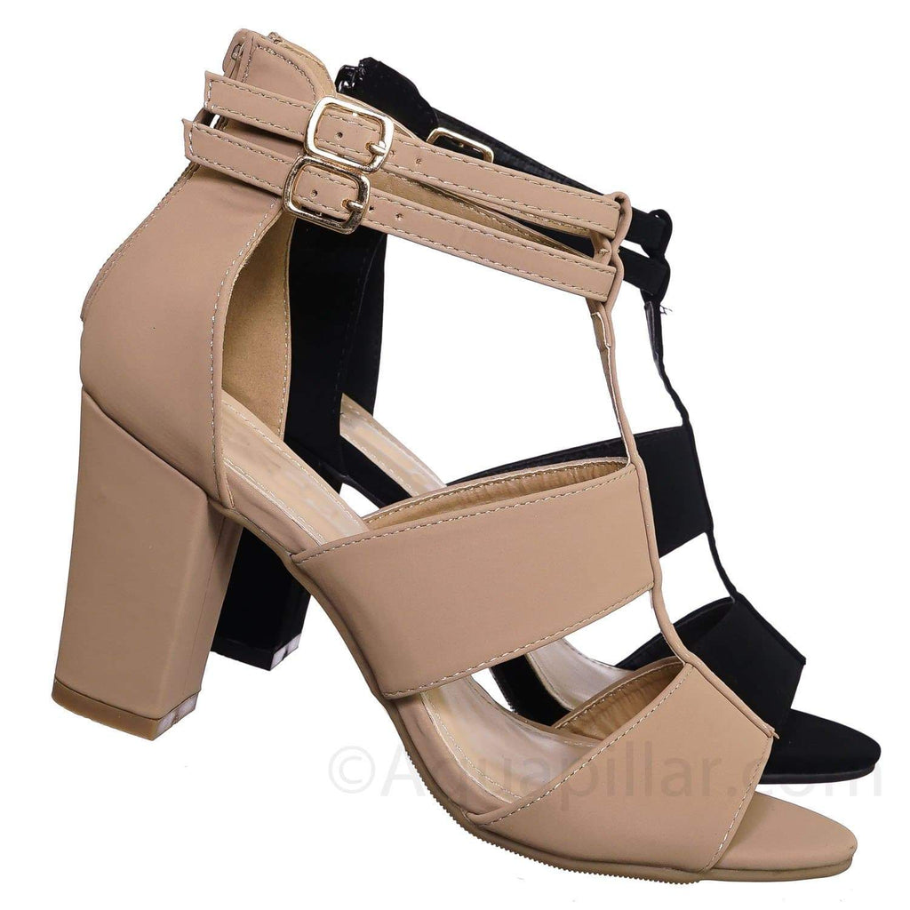 Rosa52 Tan Chunky High Block Heel Sandal - TStrap Dboule Buckle Open Shoe