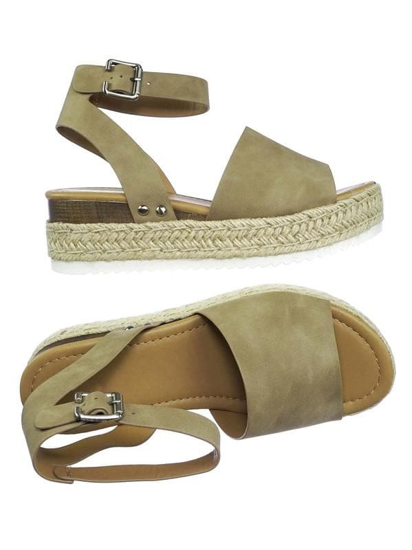 Natural Nubuck / Topic Espadrille Jute Rope Wrap Platform Flatform Rubber Shark tooth Flat Sandal