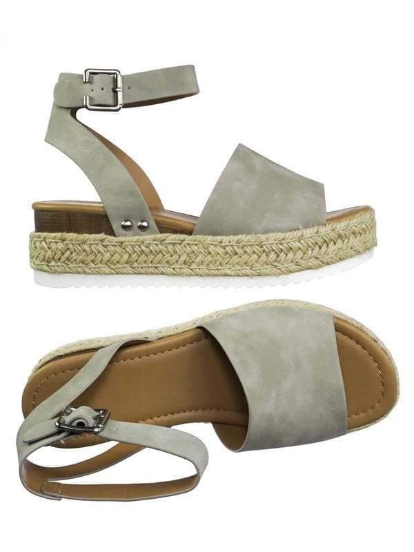 Dusty Gray / Topic Espadrille Jute Rope Wrap Platform Flatform Rubber Shark tooth Flat Sandal