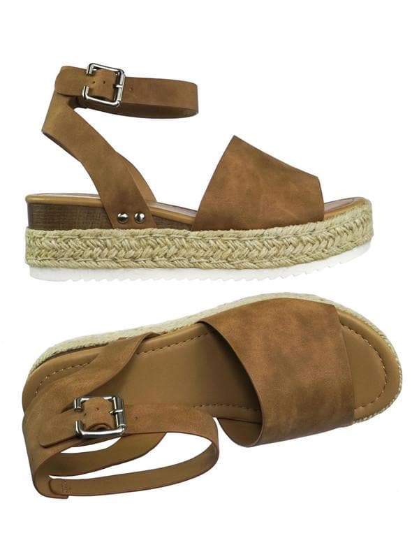 Tan Brown / Topic Espadrille Jute Rope Wrap Platform Flatform Rubber Shark tooth Flat Sandal