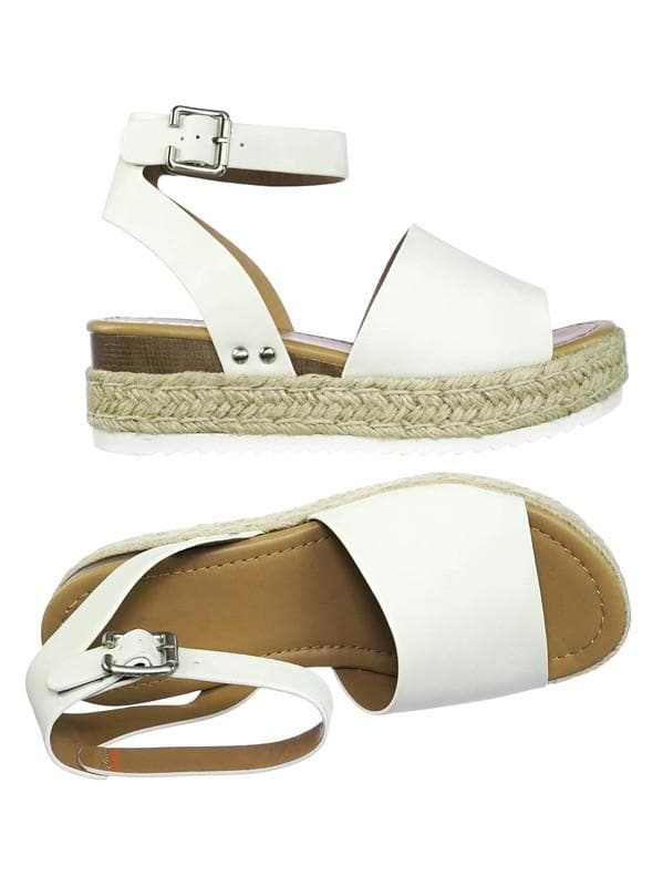 Off White / Topic Espadrille Jute Rope Wrap Platform Flatform Rubber Shark tooth Flat Sandal