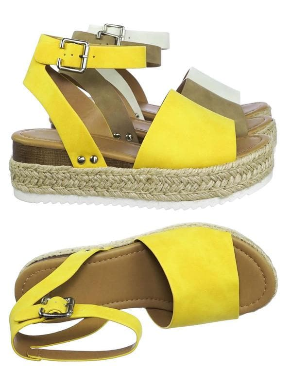 Yellow / Topic Espadrille Jute Rope Wrap Platform Flatform Rubber Shark tooth Flat Sandal
