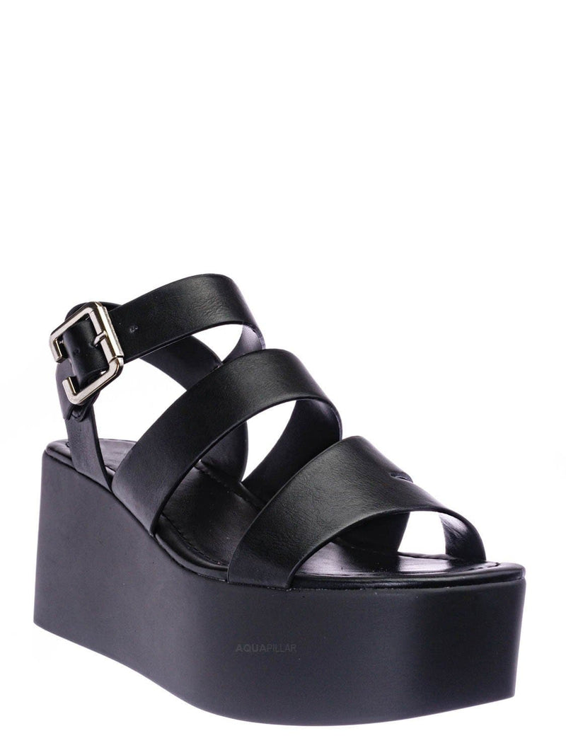 Black Pu / Oversea Asymmetric Strappy Flatform Shoe - Women Cage Gladiator Platform Sandals