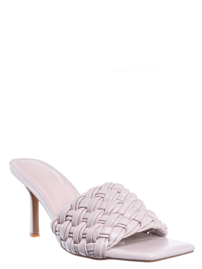Ivory White / Zeal08 High Heel Puffy Woven Mule - Women Stiletto Pillow Weave Sandal