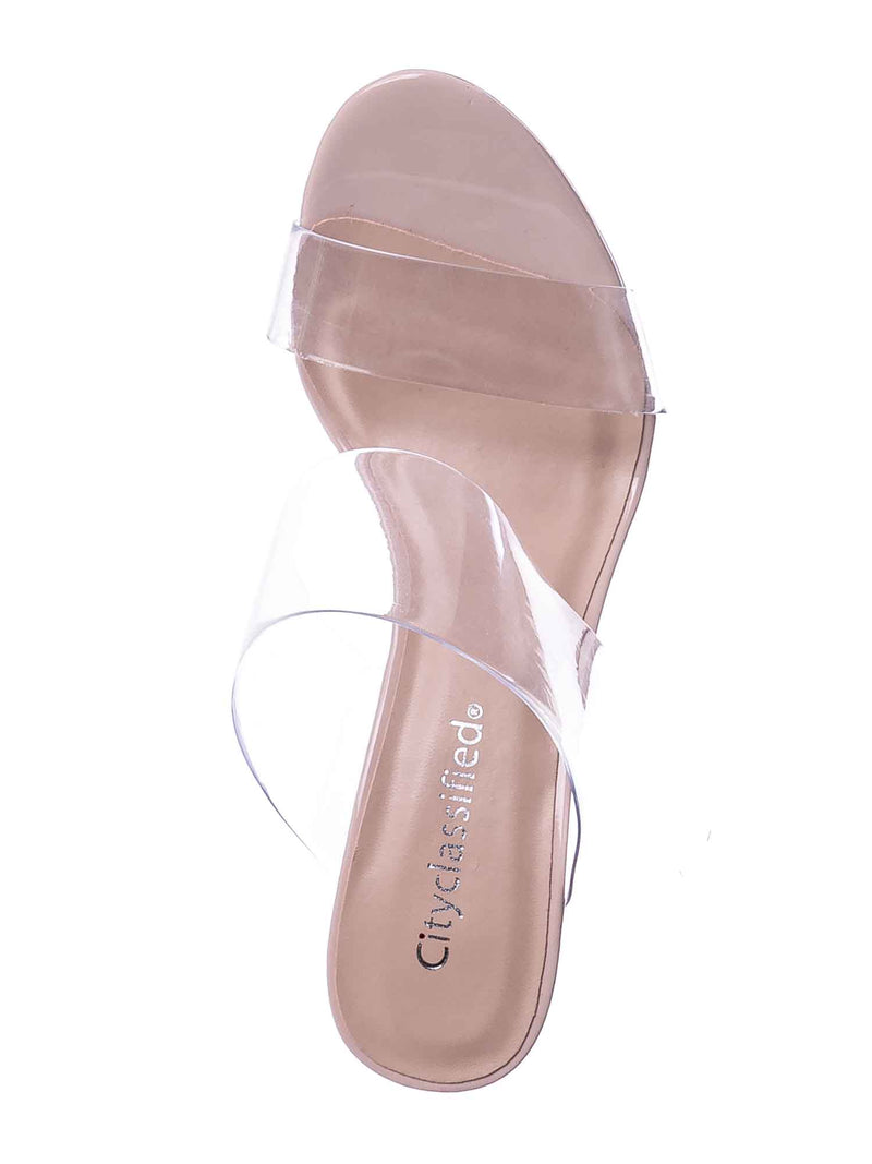 Beige / Lisa Clear Lucite Glass High Heel Slipper - Women Vinyl Slip On Mule Sandal
