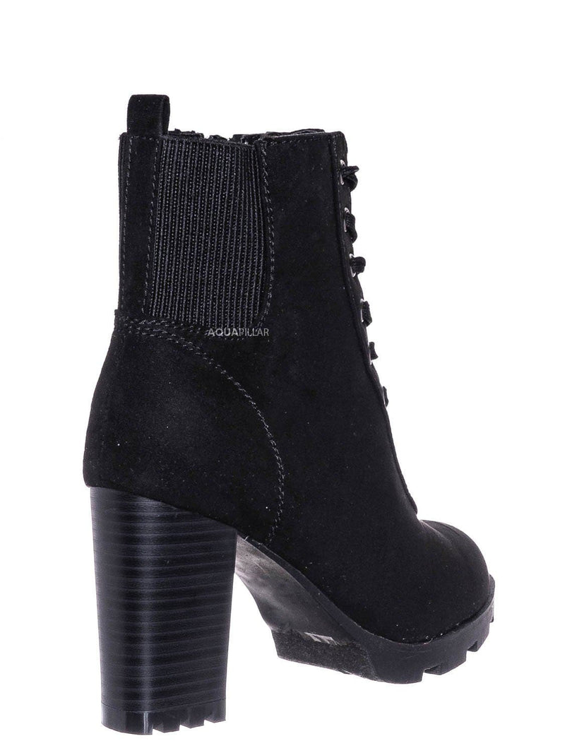 Black Fs / Pilate09 Block Heel Combat Bootie - Lug Sole Lace Up Goth Victorian Ankle Boots
